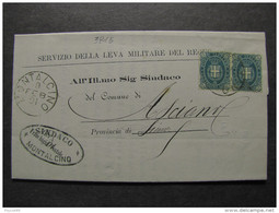 """3815 ITALIA Regno-1889- """"Stemma"""" C. 5 MONTALCINO>ASCIANO (descrizione) - Storia Postale"""
