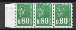 - FRANCE Variété N° 1807i ** - 60 C. Vert Marianne De Béquet 1974 - VISAGE ABSENT REVENANT A NORMAL - - Varieties: 1970-79 Mint/hinged