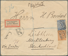 Aden: ADEN 1889: Registered Cover From Aden To Lübtheen, Mecklenburg, Germany Franked With India QV - Yemen