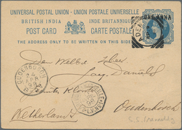 """Aden: 1893,1898, Two Stationery Cards Written In PERIM Via ADEN And French Shipmail """"LA REUNION A MA - Yemen"""