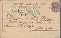 """Aden: 1899, 1 Anna QV On Coloured Ppc Cancelled """"ADEN 11-6-99"""" Sent Via """"SINGAPORE TO HONG-KÖNG"""" Shi - Yemen"""