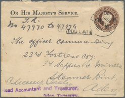 """Aden: 1905, India Official Envelope 1a. Brown, Used 24.10 From """"ADEN CMAP"""" To An Army Unit At """"ADEN - Yemen"""