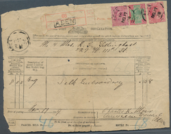 """Aden: 1909 Post Declaration For Parcel, Franked With India KE 1r., 8a. And 1a. Tied With """"ADEN/PAR/N - Yemen"""