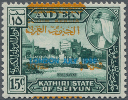 Aden: ADEN STATE OF SEYUN, 1966, 10 F. On 15 C. Bluegreen With Additional Overprint For The FOOTBALL - Yemen