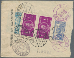 Afghanistan: 1945. Registered Airmail Letter (faults) To New York, Franked (all At Back), 1 Pl Red-l - Afghanistan