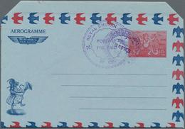 Bhutan: 1971 Unused And Revalued Postal Stationery Aerogram 25 Ch Blue On 1.25 Nu Red On Blue With D - Bhutan