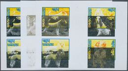 Bhutan: 1972, Bhutan. Collective, Progressiv Color Proofs (9 Phases) In Crossed Gutter Pairs For 4 V - Bhutan