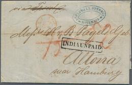 Birma / Burma / Myanmar: 1858 Stampless Letter From Moulmein To Altona Near Hamburg, Germany Via Cal - Myanmar (Burma 1948-...)