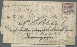 "Birma / Burma / Myanmar: 1889, Cover Franked With 5d ""Jubilee Issue"" Dated ""LONDON 13 SP 89"" Sent Vi - Myanmar (Burma 1948-...)"
