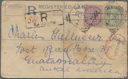 Birma / Burma / Myanmar: 1894, Indian Registered Stationery Envelope Uprated With 1 And 4 Annas QV W - Myanmar (Burma 1948-...)