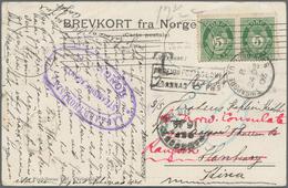 Birma / Burma / Myanmar: 1905, INCOMING MAIL: Norway, 2 X 5 Öre Green On Picture Postcard From Chris - Myanmar (Burma 1948-...)