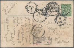 "Birma / Burma / Myanmar: 1912 ""RANGOON UNPAID"", ""POSTAGE DUE"" And ""INSEIN"" Hand- And Datestamps On P - Myanmar (Burma 1948-...)"