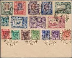 "Birma / Burma / Myanmar: 1946, Unadressed Envelope With ""MILY ADMN"" Surcharged Set Of 16 Stamps Canc - Myanmar (Burma 1948-...)"