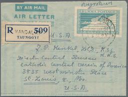 Birma / Burma / Myanmar: 1950/54 5 Unused And Commercially Used Aerograms Flying Hintha 6 Annas Turq - Myanmar (Burma 1948-...)