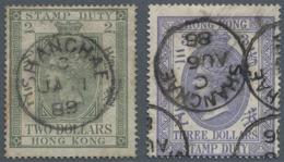 Hongkong - Treaty Ports: Shanghai, 1874, Postally Used Fiscals, $2 Olive Green And $3 Violet Ea. Cle - Hong Kong (...-1997)