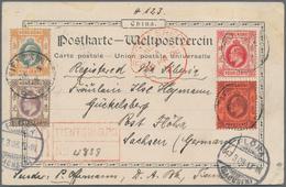Hongkong - Treaty Ports: Tientsin, 1908, KEVII 4 C. Lilac On Red Resp. 4 C. Scarlet With 1 C., 5 C. - Hong Kong (...-1997)