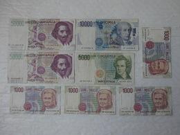 Billet De Banque Italia 2 X 50000 & 10000 & 5000 & 4 X 1000 Lire ...! - 50000 Lire