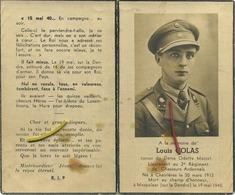 Louis Colas : Lieutenant  2e Regiment Du Chasseurs Ardennais : Chairières - Mespelare 1940  (  Guerre - Oorlog ) - Images Religieuses