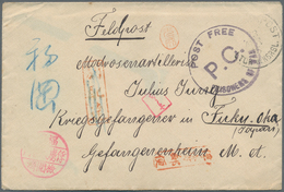"Lagerpost Tsingtau: Fukuoka, 1915, Incoming Mail From Germany, Small Envelope From ""Kaiserslautern 2 - Kantoren In China"