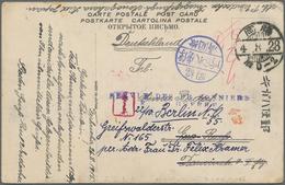 "Lagerpost Tsingtau: Fukuoka, 1916, Ppc With Blue Camp Seal And Blue SDP/DG From ""Fukuoka 4.8.28"" (Au - Kantoren In China"