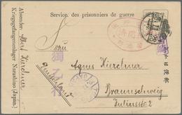 Lagerpost Tsingtau: Narashino, 1918/19, Camp-made Envelopes Types I (top Reduced), II, III. And A Ca - Kantoren In China