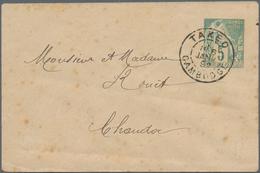 "Kambodscha: 1892, Small Size Envelope Type Sage 5 C. Canc. ""TAKEO 6 JANV 92"" To Chaudoc, Stains. - Kambodscha"