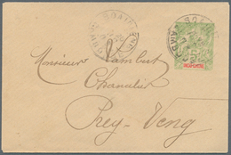 Kambodscha: 1903. French Indo-China Postal Stationery Envelope 5c Yellow- Green Cancelled By Soairie - Kambodscha