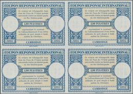 Kambodscha: 1953 (approx). International Reply Coupon 4.00 Piaster (London Type) In An Unused Block - Kambodscha