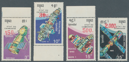Kambodscha: 1991, Postage Stamp Issue Space Travel, 4 Values With New Value Imprints, Mint, Stamps A - Kambodscha
