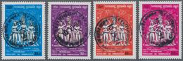 """Kambodscha: 1989, Angor Vat, Set Of Four Values With Centric Strike Of Postmark """"PHOM PENH 10.10.91"""" - Kambodscha"""