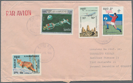 """Kambodscha: 1990, 300 On 5r. """"Football World Cup"""" In Combination With Three Other Values On Airmail - Kambodscha"""