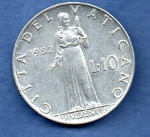 Vatican  -  10 Lire 1952  -  Km # 52.1  -  état  TTB - Vaticano