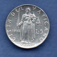 Vatican  -  5 Lires 1952  -  Km # 51.1 -  état  SUP - Vaticano