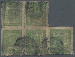 Nepal: 1890 Ca.: 4a. Yellow-green On Native Paper, Pin-perf Block Of Five, Used And Cancelled By Oct - Nepal