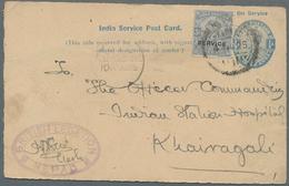 Nepal: 1925: Official India Postal Stationery Card KGV. ¼a. Ultramarine On Buff (1921), Uprated By I - Nepal