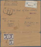 "Oman: 1945, ""MUSCAT 1 FEB 45"" Cds. On Wrapper Bearing Block Of Three 1 1/2 An. Deep Violet, Blue Reg - Oman"