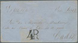 """Philippinen: 1860, Cover Endorsed """"4R"""" And """"Espana / Via Suez"""" To Cadiz W. """"SAN ROQUE 28 MAR 60"""" And - Philippinen"""