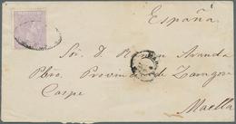 Philippinen: 1876, 12 C Violett Single Franking On Letter From Manila To Spain. Rare. ÷ 1876, 12 C A - Philippinen