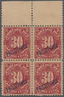Philippinen - Portomarken: 1899-1901 Postage Due 30c Deep Claret Top Marginal Block Of Four, Mint Wi - Filippijnen