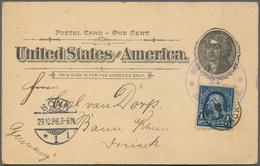 "Philippinen - Ganzsachen: 1898, Card 1 C. Uprated 1 C. Blue Canc. Violet Double Circle ""PHILIPPINE S - Philippinen"