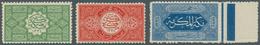 Saudi-Arabien - Hedschas: 1916, 1/2 Pia-1 Pia Set Perforated 12, The 1/2 Pia Green NG, Otherwise Min - Saudi-Arabien