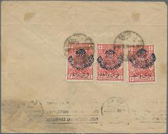 "Saudi-Arabien - Nedschd: 1925, 1/2 Pia. Red With Blue Nejd Overprint And Second Overprint ""Kurush Va - Saudi-Arabien"