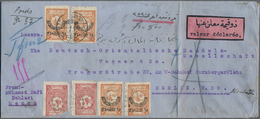Saudi-Arabien - Nedschd: 1929, ½pi. Carmine (2) And 5pi. Brown (4) On Insured Letter 800fr./87gr. Fr - Saudi-Arabien