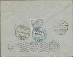 """Saudi-Arabien - Nedschd - Portomarken: 1926, 1pi. Blue On Reverse Of Commercial Cover From """"MECCA 28 - Saudi-Arabien"""