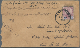 Saudi-Arabien: 1938, INCOMING MAIL: Johore, 12 C Dull Purple And Blue, Single Franking On Cover From - Saudi-Arabien