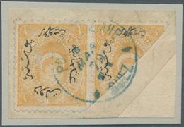 "Saudi-Arabien - Stempel: 1879, Turkey 1 Pia. Yellow Pair (1875), One Bisect, On Piece Tied By ""POSTE - Saudi-Arabien"