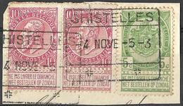 9Ab-908: GHISTELLES: Type C-k: Spoorweg Staatslijn Op N°56+58+58 : Op Fragment - 1893-1900 Fine Barbe
