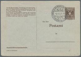 Thematik: Judaika / Judaism: 1935 (12.9.), Österreich, Anschriftenänderungskarte 12 Gr. Braun Mit Bl - Briefmarken