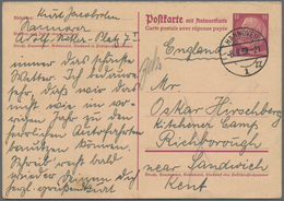 Thematik: Judaika / Judaism: 1939, 15 Pf Hindenburg Postal Stationery Reply-card, Sent From Hannover - Briefmarken