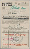 Thematik: Judaika / Judaism: 1943, Böhmen Und Mähren, Zweisprachiger AUSWEIS (dt.-tschechisch) Und B - Briefmarken